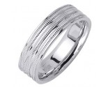 White Gold 3-Row Milgrain Wedding Band 6.5mm WG-1763