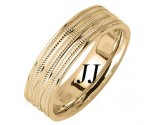 Yellow Gold 3-Row Milgrain Wedding Band 6.5mm YG-1763