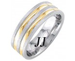 Two Tone Gold Dual Blade Wedding Band 7mm TT-1774