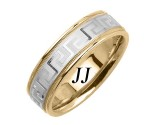 Two Tone Gold Greek Wedding Band 7mm TT-1855B