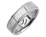 White Gold Greek Wedding Band 7mm WG-1855