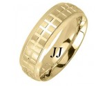 Yellow Gold Checkered Wedding Band 7mm YG-1857