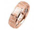 Rose Gold Blocks Wedding Band 7mm RG-1858