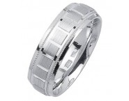 White Gold Blocks Wedding Band 7mm WG-1858