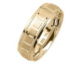 Yellow Gold Blocks Wedding Band 7mm YG-1858