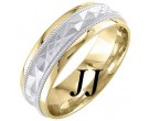 Two Tone Gold Sandblasted Wedding Band 6mm TT-1862