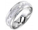 White Gold Sandblasted Wedding Band 6mm WG-1862