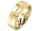 Yellow Gold Checkered Wedding Band 7mm YG-1863