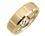Yellow Gold Sandblasted Wedding Band 7mm YG-1864
