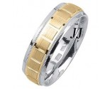 Two Tone Gold Blocks Wedding Band 7mm TT-1872