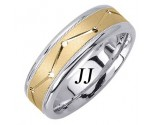 Two Tone Gold Dot to Dot Wedding Band 7mm TT-1861B