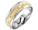 Two Tone Gold Sandblasted Wedding Band 7mm TT-1876