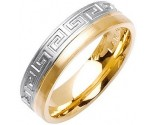 Two Tone Gold Greek Wedding Band 6mm TT-1877