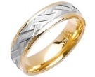 Two Tone Gold Criss Cross Wedding Band 6mm TT-1878