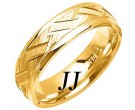 Yellow Gold Criss Cross Wedding Band 6mm YG-1878