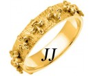 Yellow Gold Fleur De Lis Wedding Band 5mm YG-2003
