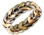 Two Tone Gold Hand Braided Wedding Band 7mm TT-200