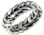 White Gold Hand Braided Wedding Band 7mm WG-200