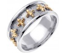 Two Tone Gold Fleur De Lis Wedding Band 9mm TT-2010