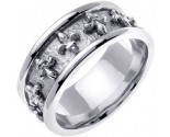 White Gold Fleur De Lis Wedding Band 9mm WG-2011