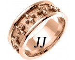 Rose Gold Fleur De Lis Wedding Band 9mm RG-2012