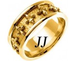 Yellow Gold Fleur De Lis Wedding Band 9mm YG-2013