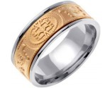 Two Tone Gold Celtic Design Wedding Band 9mm TT-2021