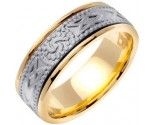Two Tone Gold Celtic Design Wedding Band 8mm TT-2030
