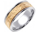 Two Tone Gold Celtic Design Wedding Band 8mm TT-2031