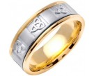 Two Tone Gold Celtic Knot Wedding Band 8mm TT-2040