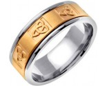 Two Tone Gold Celtic Knot Wedding Band 8mm TT-2041