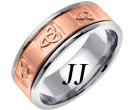 Two Tone Gold Celtic Knot Wedding Band 8mm TT-2045