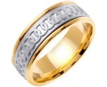Two Tone Gold Celtic Rings Wedding Band 8mm TT-2054