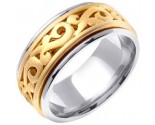 Two Tone Gold Celtic Paisley Wedding Band 9.5mm TT-2060