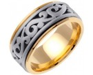 Two Tone Gold Celtic Paisley Wedding Band 9.5mm TT-2064