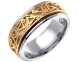 Two Tone Gold Celtic Design Wedding Band 8mm TT-2070