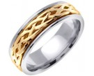 Two Tone Gold Celtic Braided Wedding Band 6.5mm TT-2080