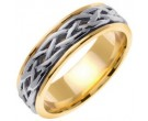 Two Tone Gold Celtic Braided Wedding Band 6.5mm TT-2081