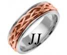Two Tone Gold Celtic Braided Wedding Band 6.5mm TT-2085