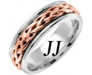 Two Tone Gold Celtic Braided Wedding Band 6.5mm TT-2093