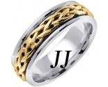Two Tone Gold Celtic Braided Wedding Band 6.5mm TT-2094
