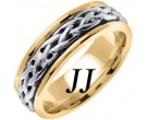 Two Tone Gold Celtic Braided Wedding Band 6.5mm TT-2095