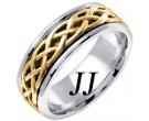 Two Tone Gold Celtic Braided Wedding Band 6.5mm TT-2103