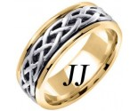 Two Tone Gold Celtic Braided Wedding Band 6.5mm TT-2104