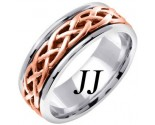 Two Tone Gold Celtic Braided Wedding Band 6.5mm TT-2105