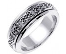 White Gold Celtic Design Wedding Band 7mm WG-2120