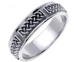 White Gold Celtic Design Wedding Band 6mm WG-2130