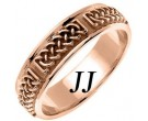 Rose Gold Celtic Design Wedding Band 6mm RG-2131