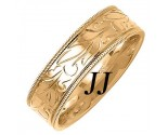 Yellow Gold Floral Design Wedding Band 7mm YG-304
