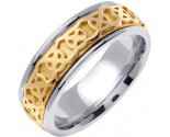 Two Tone Gold Celtic Design Wedding Band 7.5mm TT-2140